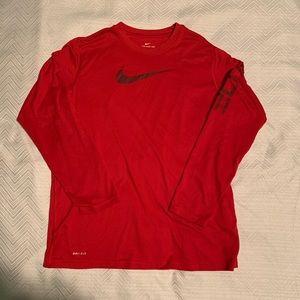 Nike Red Long Sleeve Dri-Fit Shirt. Youth XL.